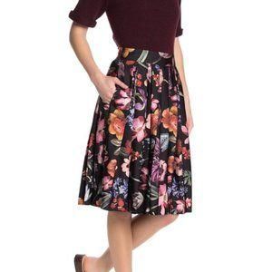 J. Crew 8 Pleat A-line Skirt Midnight Dutch Floral